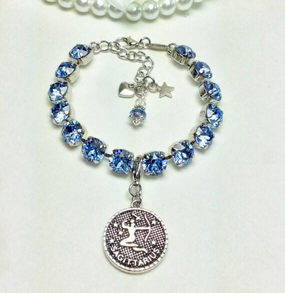 Swarovski Crystal 8.5mm December/Sagittarius Birthstone Bracelet & Zodiac Charm - Birthday Gift  Lt. Sapphire Birthstone - FREE SHIPPING