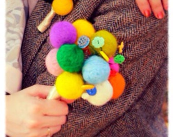 Hand crafted needle felted wedding bouquet. Vintage buttons.
