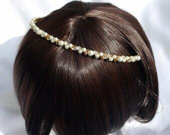 Gold Bridal Hair band, Wedding Hair Accessory, Gold and pearl bride tiara, Gold Tone Headband, Bride Hair Accessory, Pearl gold hair piece
