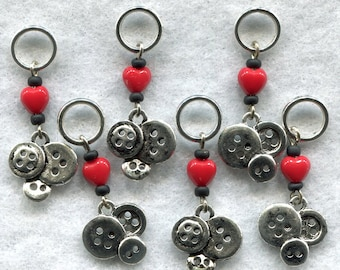 Love Buttons Knitting Stitch Markers PhatFiber Villains Theme Set of 6/SM95