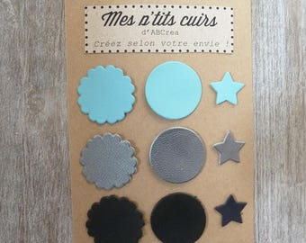 set of 9 cuts fine leather circles and stars to sew or glue
