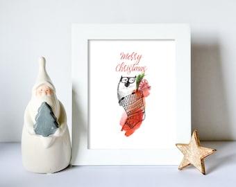 Cat In Christmas Stocking -  Art Print - Digital Download - High Resolution - Printable Wall Art