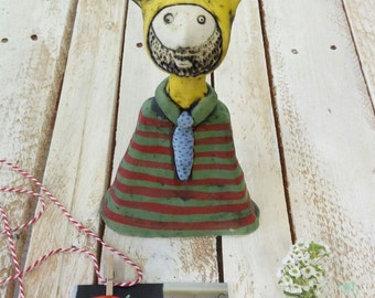 Ceramic sculpture, bearded man, clay figure, colorful ceramics,  gift for boyfriend, gift for Dad, modern art, one of a kind, art doll.