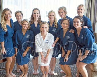 BRIDAL PARTY ROBES - Navy Cotton Waffle Robes - Bridesmaid Gifts - Bachelorette Robes - Spa Party - Bridal Robe - Cotton Robe - Kimono Robe