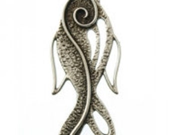 On Sale NOW 25%OFF Beautiful Greek Worry Fish Pendant  - Antique Silver - Z5305 - Qty1