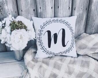 Monogram | Initial | Custom | Throw Pillow | Calligraphy | Handmade | Home Decor | Bedding