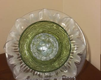glass plate flower, garden art, backyard decoration