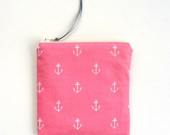 Preppy coin purse with anchors, choose your size, Makeup bag, Pencil pouch, Coral Pink, Nautical gift for her under 15 dollars
