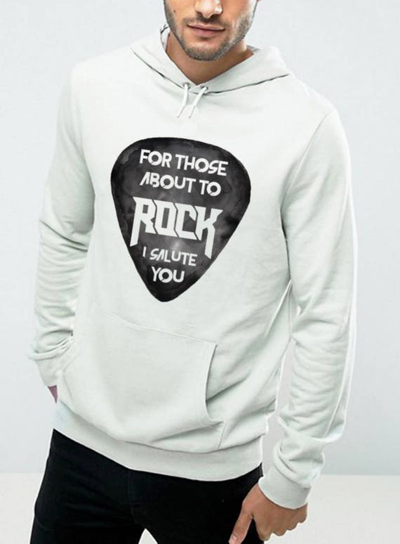 For those about to rock I salute you | Unisex Hooded Sweatshirt | AC / DC clothing | Rock hoodie | Guitar pick | Rock music | ZuskaArt
