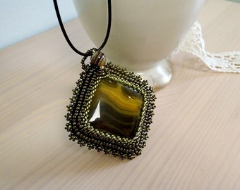 Agate Necklace, Beadwork Necklace, Beaded Necklace, Square Agate necklace, Bead Embroidered