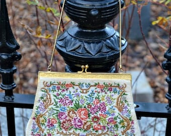 Saks Fifth Avenue, Saks Fifth Avenue Purse, Saks Fifth Avenue Handbag, Needlepoint Purse, Petit Point Purse, Gift for Mom, Gift for Her