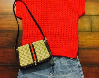 1980's VINTAGE Red Knit Cap Sleeve Sweater Top Sz M-L