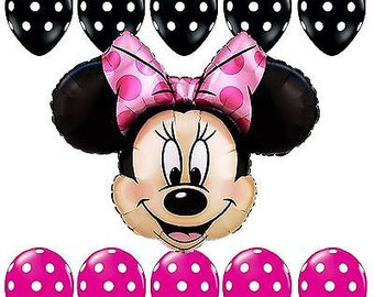 11 Piece Pink and Black  Minnie Mouse Birthday party Balloons Decorations Balloons Supplies