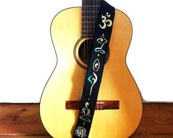 Zen Guitar Strap/Custom Hand Embroidered with Initials- Namaste Yoga Guitar Strap