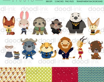 SALE 50%!!! Animal Kingdom Movie Digital Clipart / Forest cute Clip Art / Digital Paper For Personal Use / INSTANT DOWNLOAD
