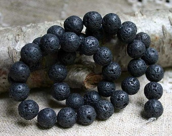 50pcs Lava Rock Natural Gemstone Beads 8mm Round 16 Inches Strand