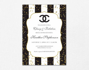 Coco Chanel Bridal Shower Invitation