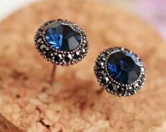925 Sterling Silver Blue Sapphire 10mm Stud Earrings Vintage Look