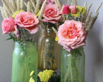 wedding centerpiece stanied glassed mason jars quart size wide mouth set of 3 two green one orange