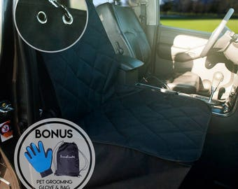 Pet Car Seat Protector For Dog, Waterproof, NonSlip, Front Quilted Durable Design, Black Bench Cover For Truck & Suv Free Pet Grooming Glove