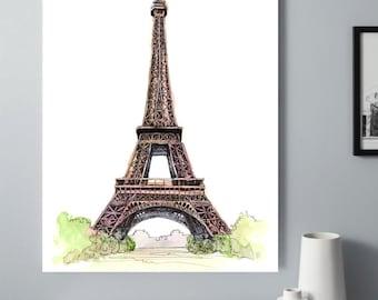 Watercolor Eiffel Tower Wall Art, Paris Skyline Print, Parisian Poster, Paris Decor, Eiffel Tower Decor, Bedroom Wall Art, Dining Room Print