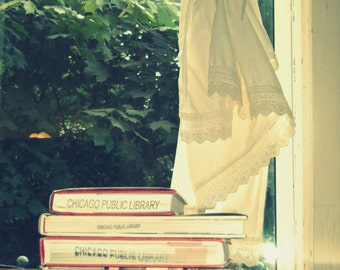 Chicago Public Library books, books photo, photography, window, reading, ivory, cream, lace, shabby chic, cottage chic, summer, green