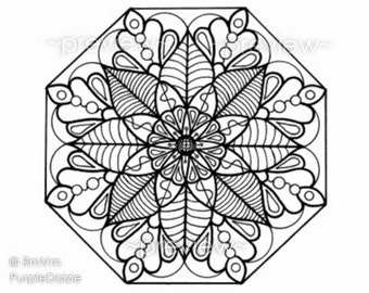 Adult Coloring Page Printable Color Page Digital Mandala Zen Coloring Large JPEG File Art Drawn By Me - Instant Download Mandala Flower 5