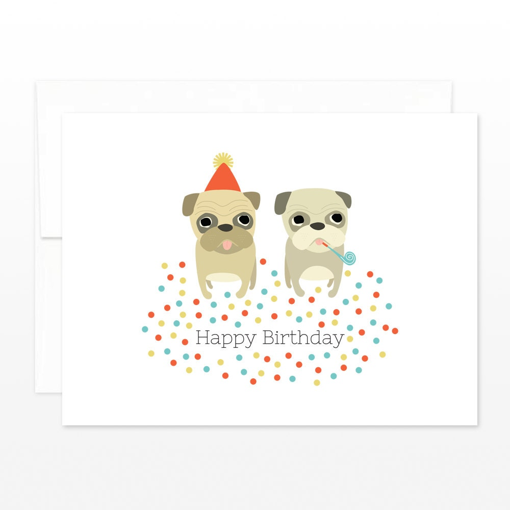 Funny pug card cute pug birthday greeting card party pug zoom kristyandbryce Image collections