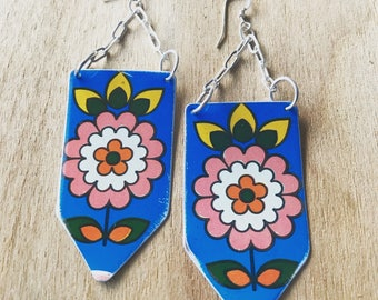 handmade vintage tea Tin Floral Earrings with sterling silver chain and earwires