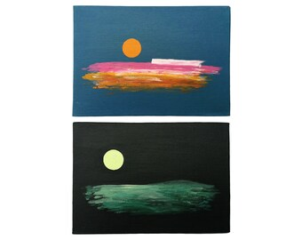"Pair of Original Paintings on Canvas Board (7"" x 5"")"