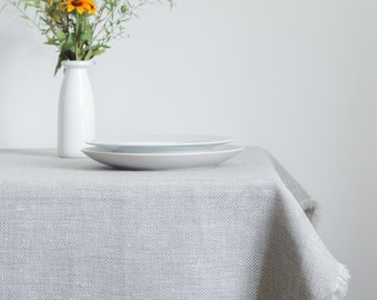 Natural Grey and White Huckaback Linen Tablecloth