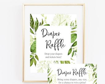 Greenery Diaper Raffle Sign and Tickets, Baby Shower Invitation Insert, Baby Shower Diaper Game, Gender Neutral,  Green Wreath 80J
