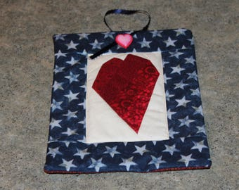 Blue Stars Crazy Heart Pieced 9 1/2  X 7 Handmade Quilted Wall Hanging