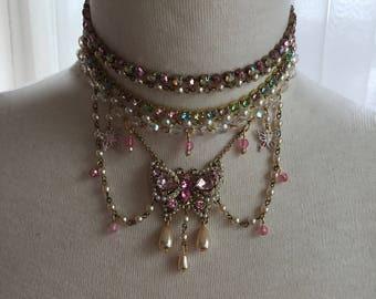 Marie Antoinette Radiant Rococo/Baroque Butterfly Crystal pink and Pearl Rainbow Rhinestone Choker