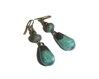 Ceramic Teardrop Earrings Ceramic Beads Artisan Made Organic Minimalist BOHO E255