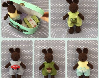 Suitcase soft bunny, clothes doll