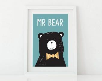 Kids Art Bear Print, Kids Wall Art, Wall Art Printable, Nursery, Room Decor,