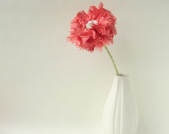 Coral Pink Ribbon Flower, table or wedding decor