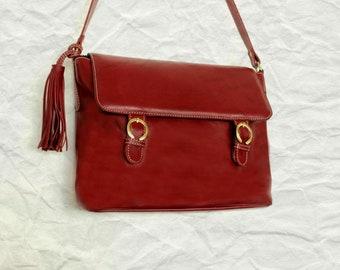 Burgundy messenger laptop bag, Leather messenger bag, Leather crossbody bag, Leather satchel, Men's messenger bag
