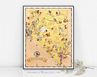 NEVADA MAP PRINT - vintage picture map to frame - whimsical gift - illustrated by Ruth Taylor White - colorful decor for home or office