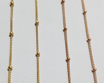 Gold Filled/Rose Gold Filled Satellite Chain, 1.9mm Bead, Price by the Foot