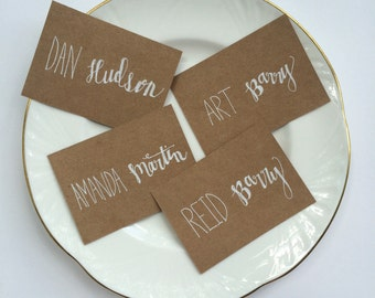 Hand Lettered, Mixed Font Place Cards Kraft Paper White Ink - Hand Made - Wedding - Rustic - Shabby Chic - Escort Card