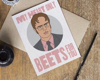 The Office Card - TV Show - Love Cards - Dwight Schrute Dunder Mifflin - Valentines Day Anniversary I Love You - Boyfriend Girlfriend