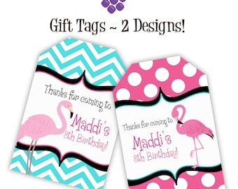 Flamingo Gift Tags - Turquoise Chevron, Pink Polka Dots, GirlsCute Flamingo Personalized Birthday Party Gift Tags - A Digital Printable File