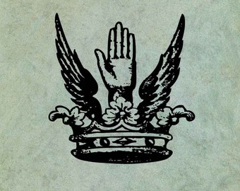 Winged Crown with Hand - Antique Style Clear Stamp
