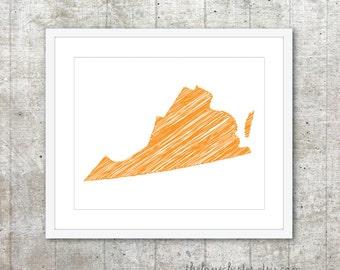 State of Virginia Print - Custom State Poster - Orange - Modern Minimalist Wall Art