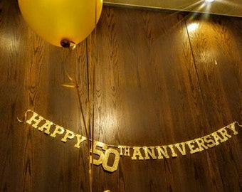 Happy 50th Anniversary Banner. Golden Wedding Anniversary. Floating Letter Banner. Gold Glitter Banner.