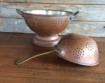 Vintage Copper Colander and Strainer Set - Free Shipping!