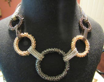 Bold Circle and Chain Gold-Silver-Gunmetal Statement Necklace