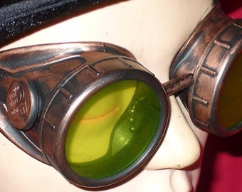 Steampunk Goggles Glasses AVIATOR Copper cyber gothic lenses-----Time Travel Crazy Scientist's Oculo-Vision Tool